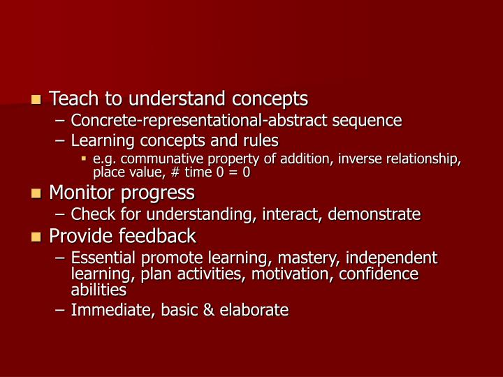 Teach to understand concepts