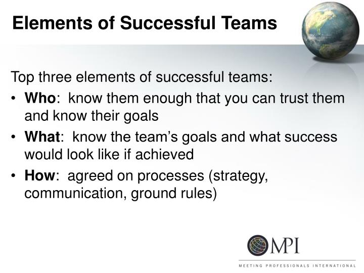 Elements of Successful Teams