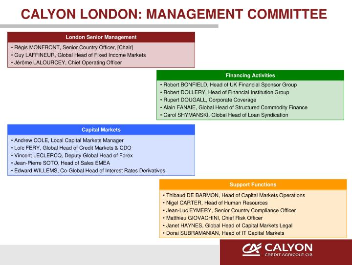 CALYON LONDON: MANAGEMENT COMMITTEE