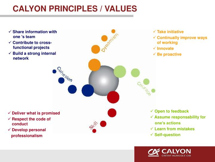 CALYON PRINCIPLES / VALUES