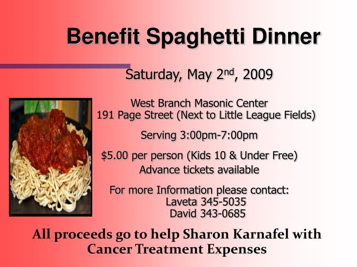 Benefit Spaghetti Dinner