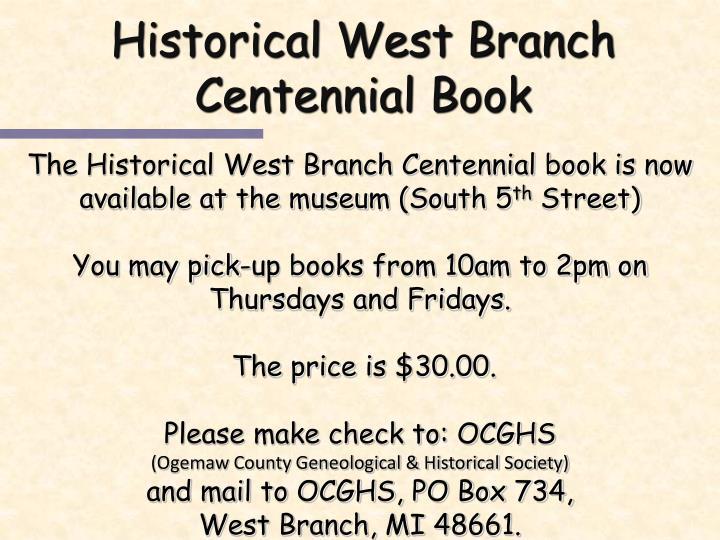 Historical West Branch Centennial Book
