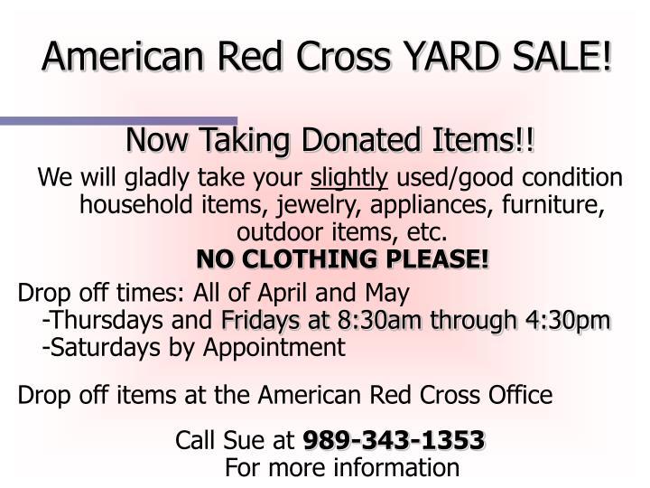 American Red Cross YARD SALE!