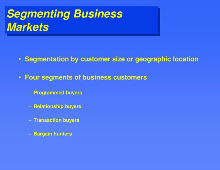 Segmentation by customer size or geographic location