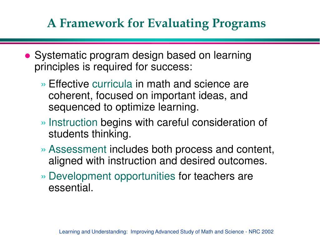 A Framework for Evaluating Programs
