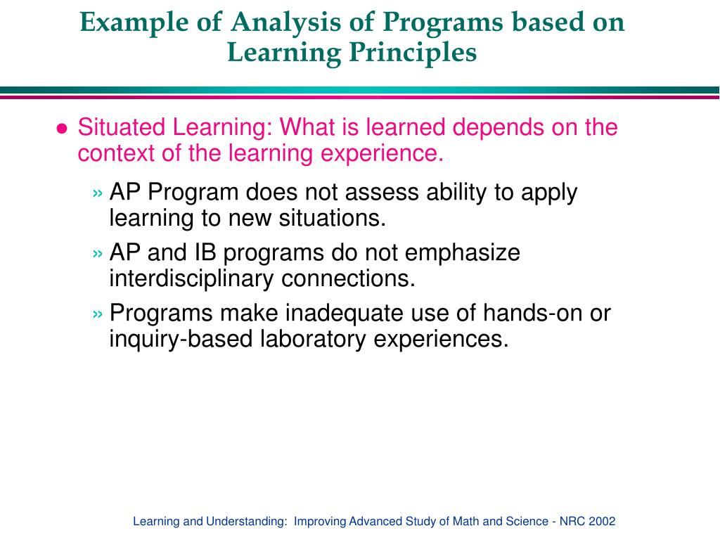 Example of Analysis of Programs based on Learning Principles