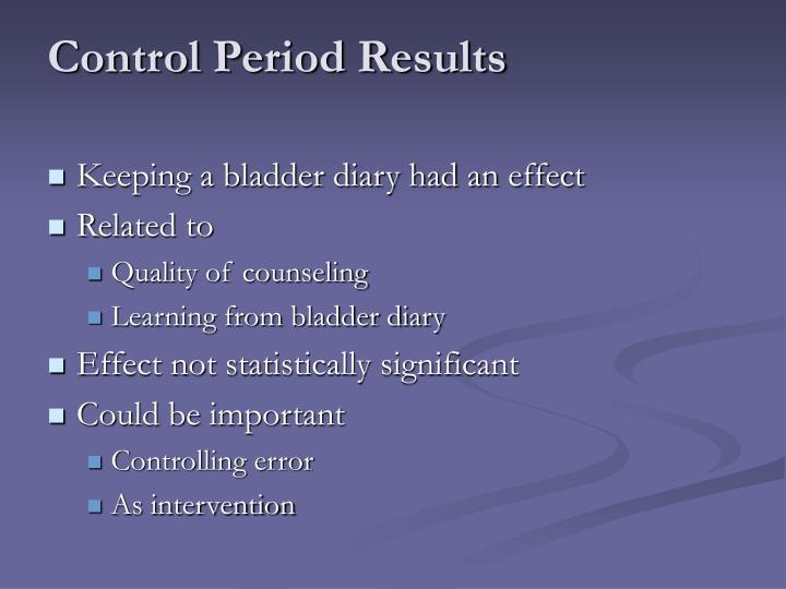 Control Period Results