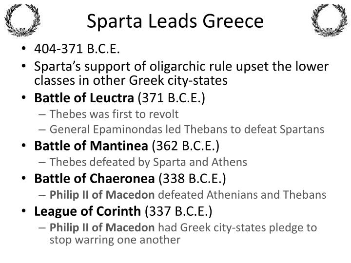 Sparta Leads Greece
