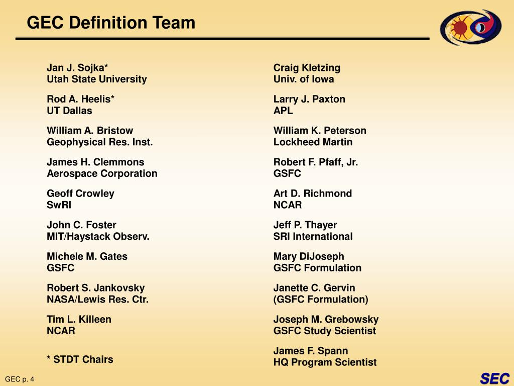 GEC Definition Team