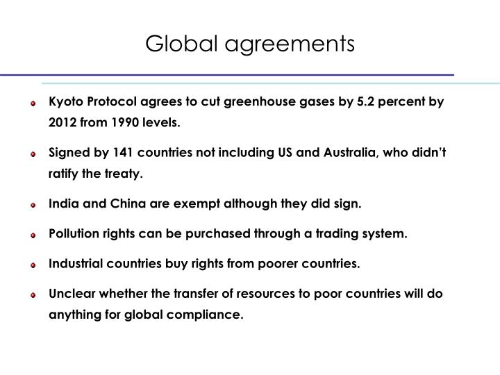 Global agreements