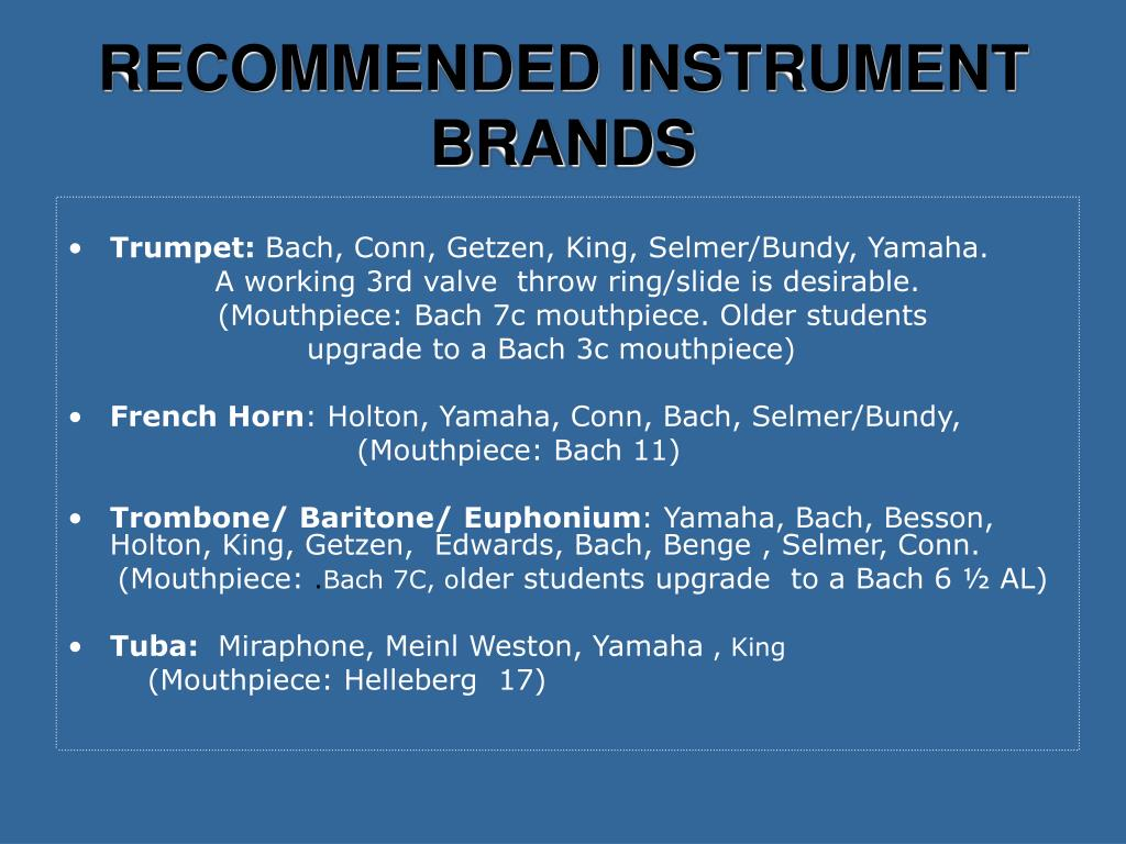 RECOMMENDED INSTRUMENT BRANDS