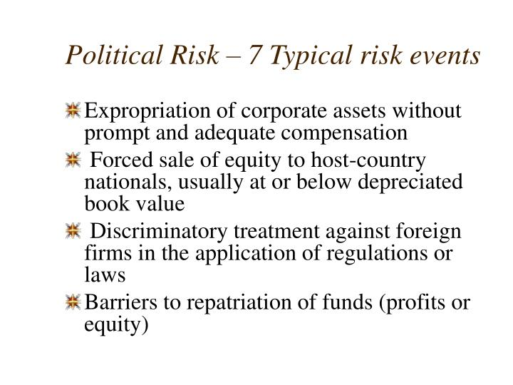 Political Risk – 7 Typical risk events