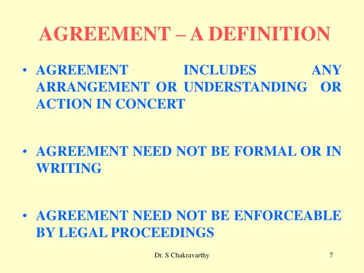 AGREEMENT – A DEFINITION
