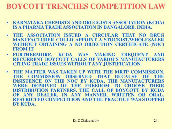 BOYCOTT TRENCHES COMPETITION LAW