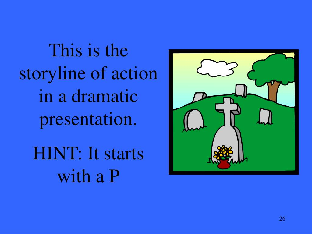 This is the storyline of action in a dramatic presentation.