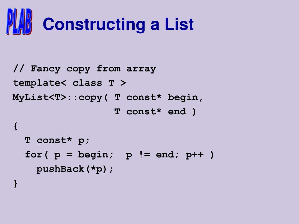 Constructing a List
