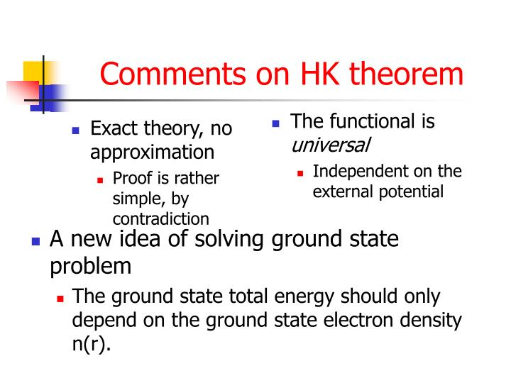 Comments on HK theorem