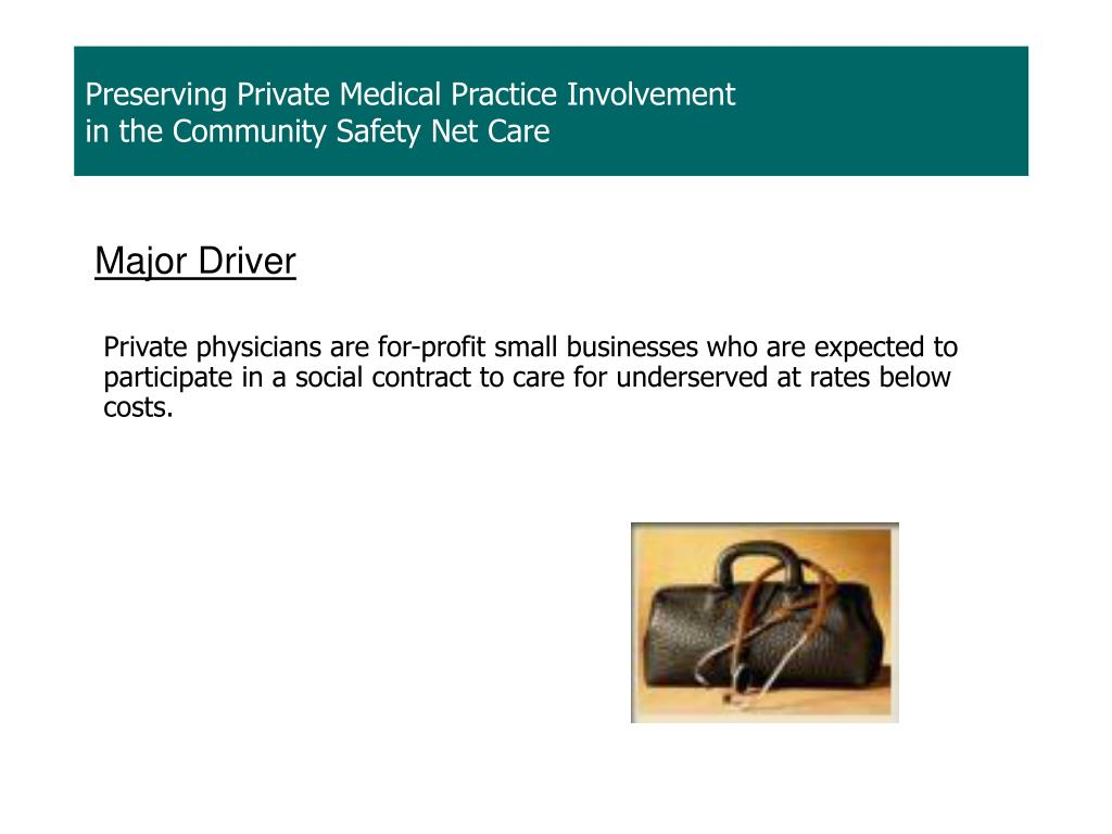 Private physicians are for-profit small businesses who are expected to participate in a social contract to care for underserved at rates below costs.