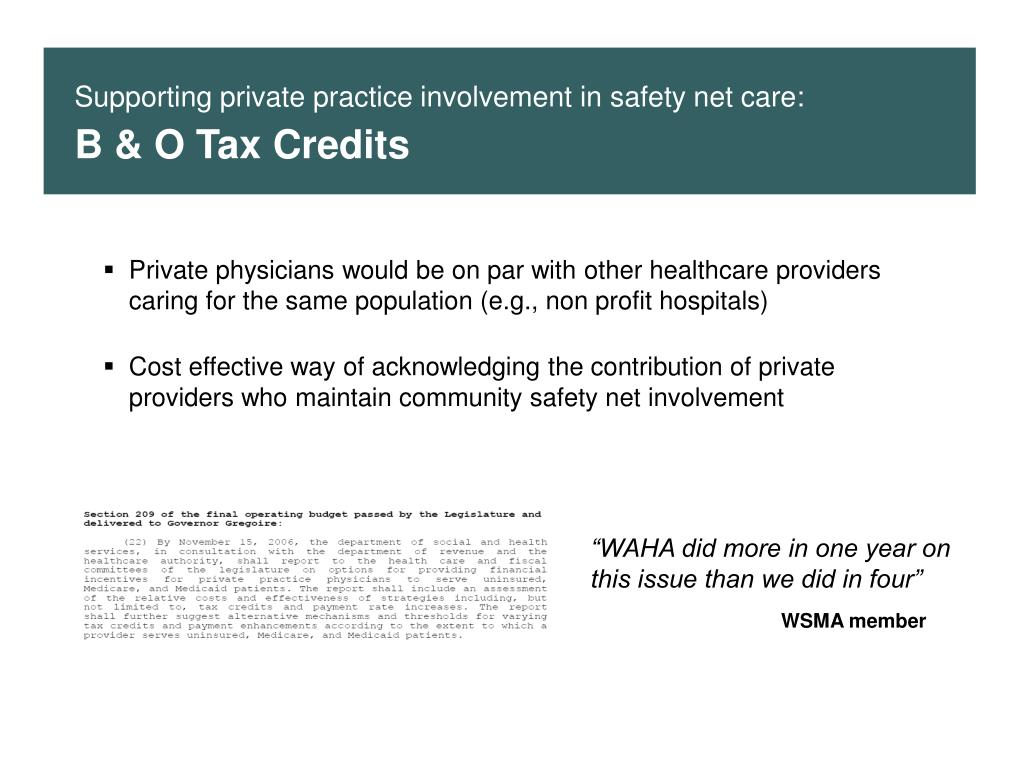 Supporting private practice involvement in safety net care: