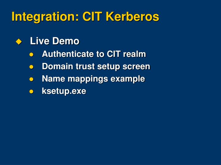 Integration: CIT Kerberos