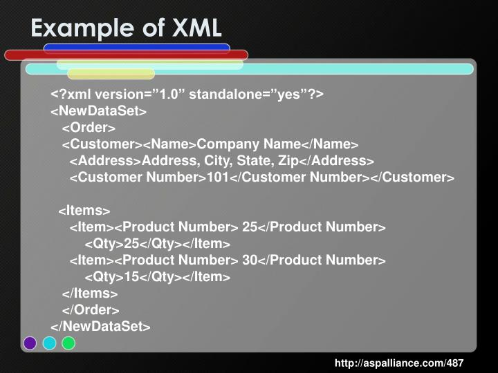 Example of XML