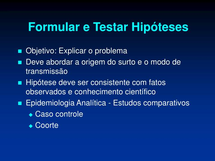 Formular e Testar Hipóteses