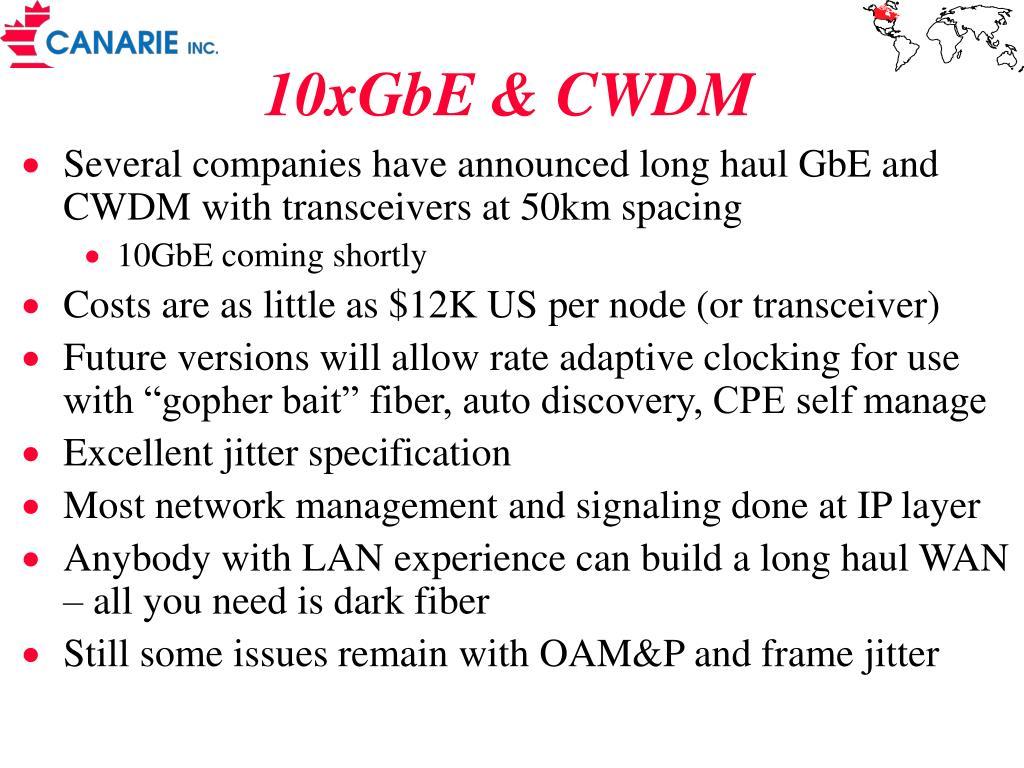 10xGbE & CWDM