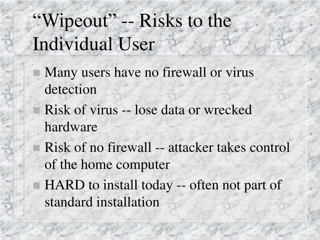 """Wipeout"" -- Risks to the Individual User"