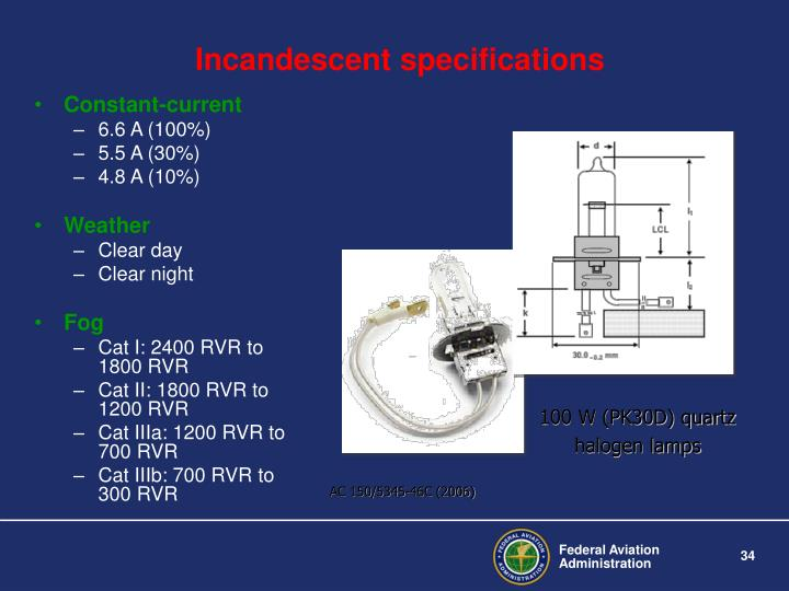 Incandescent specifications