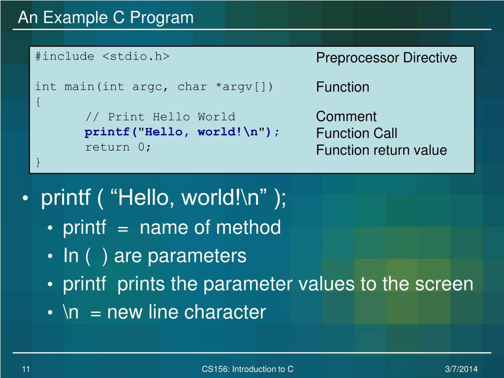 An Example C Program