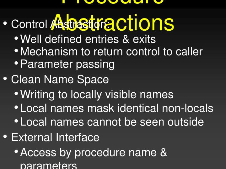 Procedure abstractions