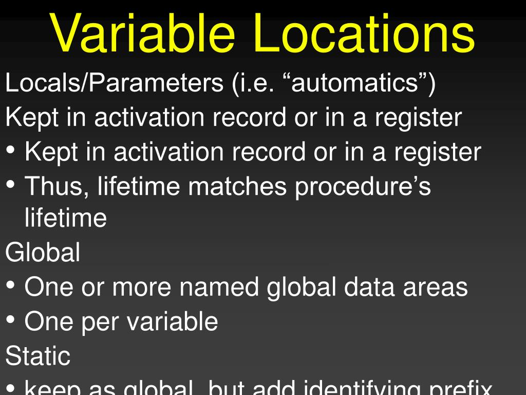 Variable Locations