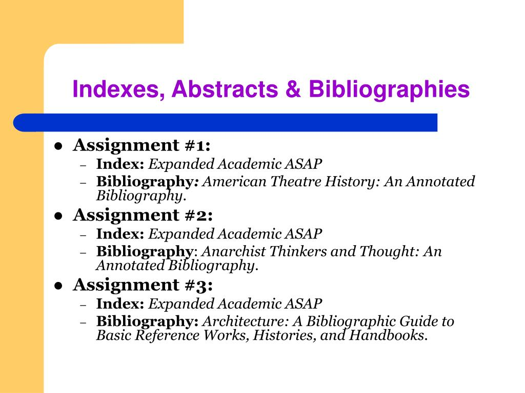 Indexes, Abstracts & Bibliographies