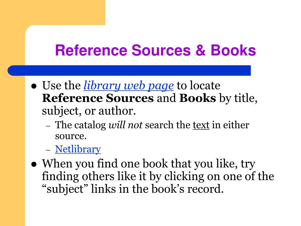 Reference Sources & Books