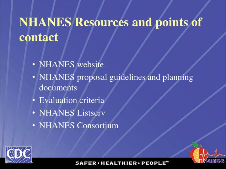 NHANES Resources and points of contact