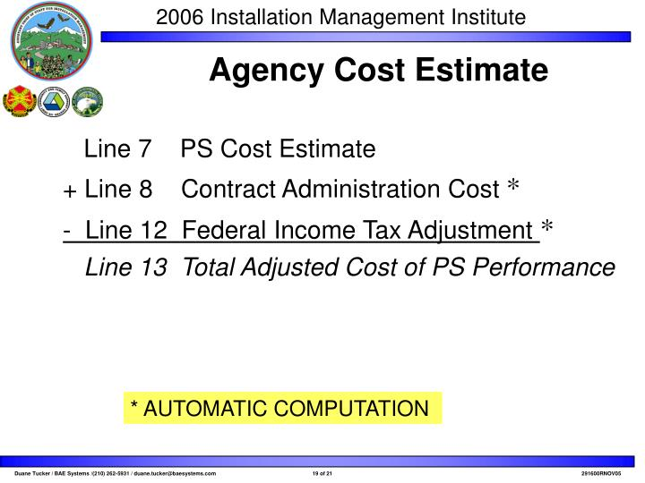 Line 7    PS Cost Estimate