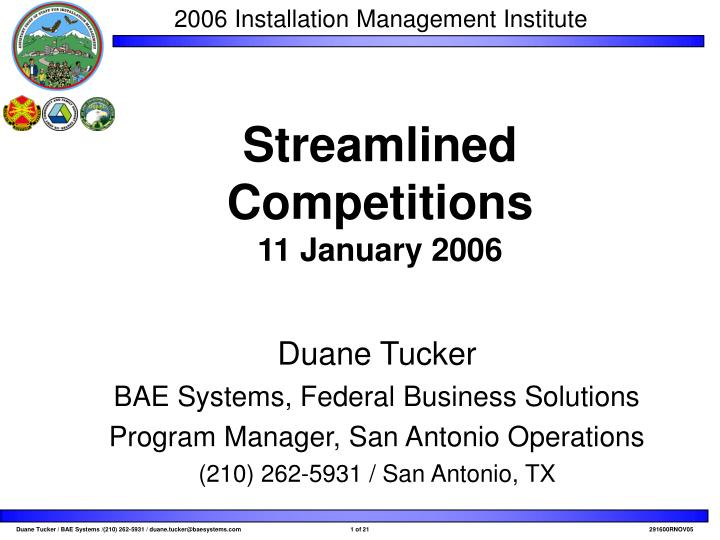 Streamlined competitions 11 january 2006