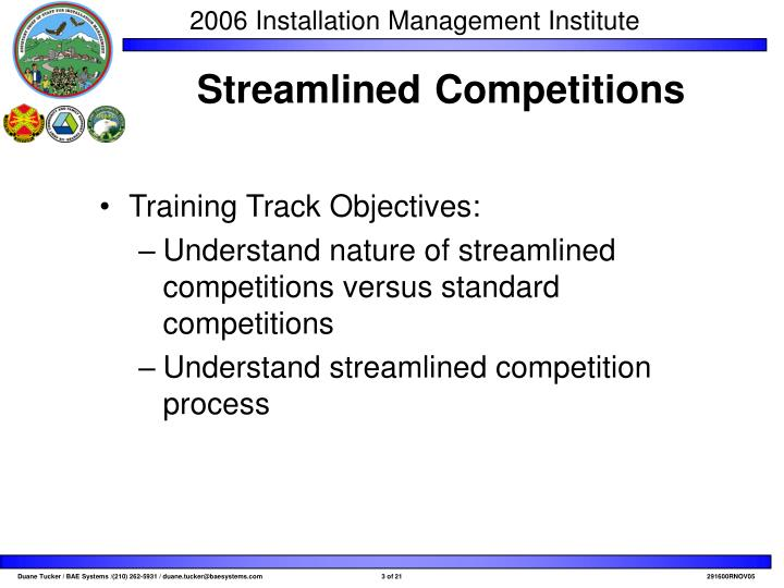 Training Track Objectives: