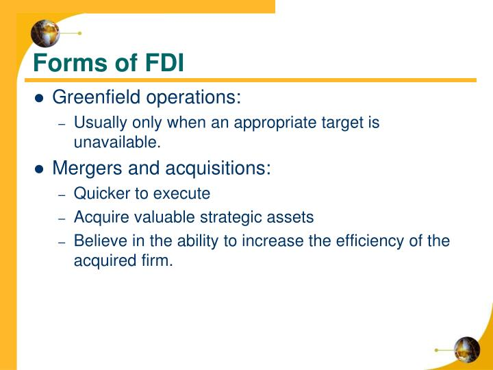 Forms of FDI