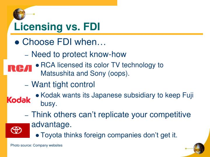 Licensing vs. FDI