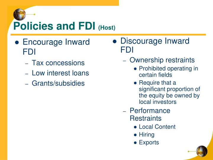Policies and FDI