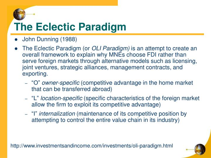 eclectic paradigm There is a wide variety of entry-mode strategies to choose from and they all have their own pros and cons the oli paradigm offers a good starting point.