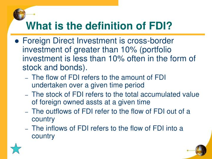 What is the definition of FDI?