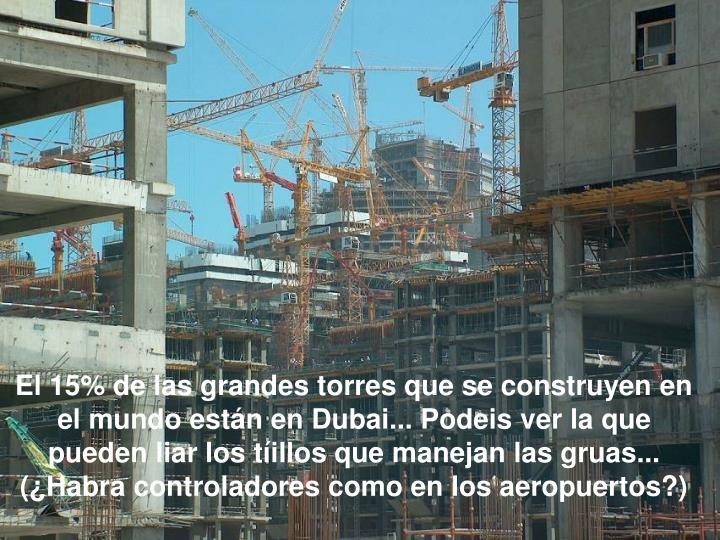El 15% de las grandes torres que se construyen en el mundo están en Dubai... Podeis ver la que pueden liar los tíillos que manejan las gruas... (¿Habra controladores como en los aeropuertos?)