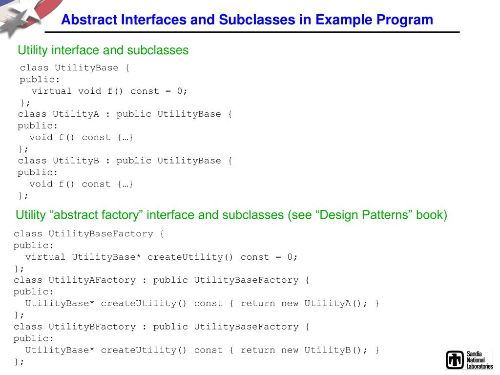 Abstract Interfaces and Subclasses in Example Program