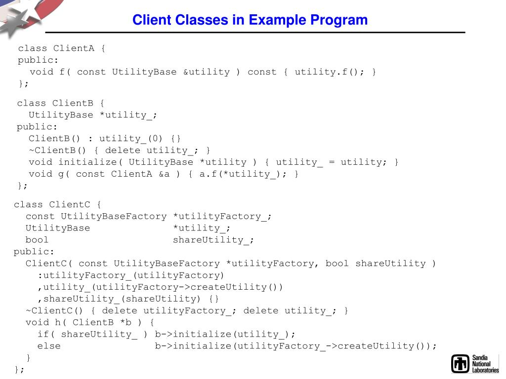 Client Classes in Example Program