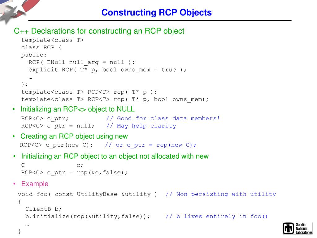 Constructing RCP Objects