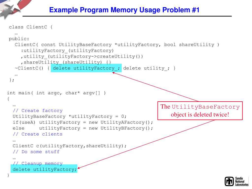 Example Program Memory Usage Problem #1