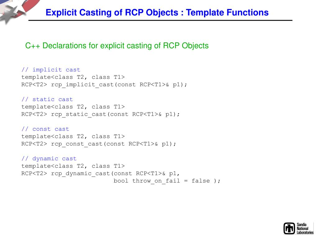 Explicit Casting of RCP Objects : Template Functions