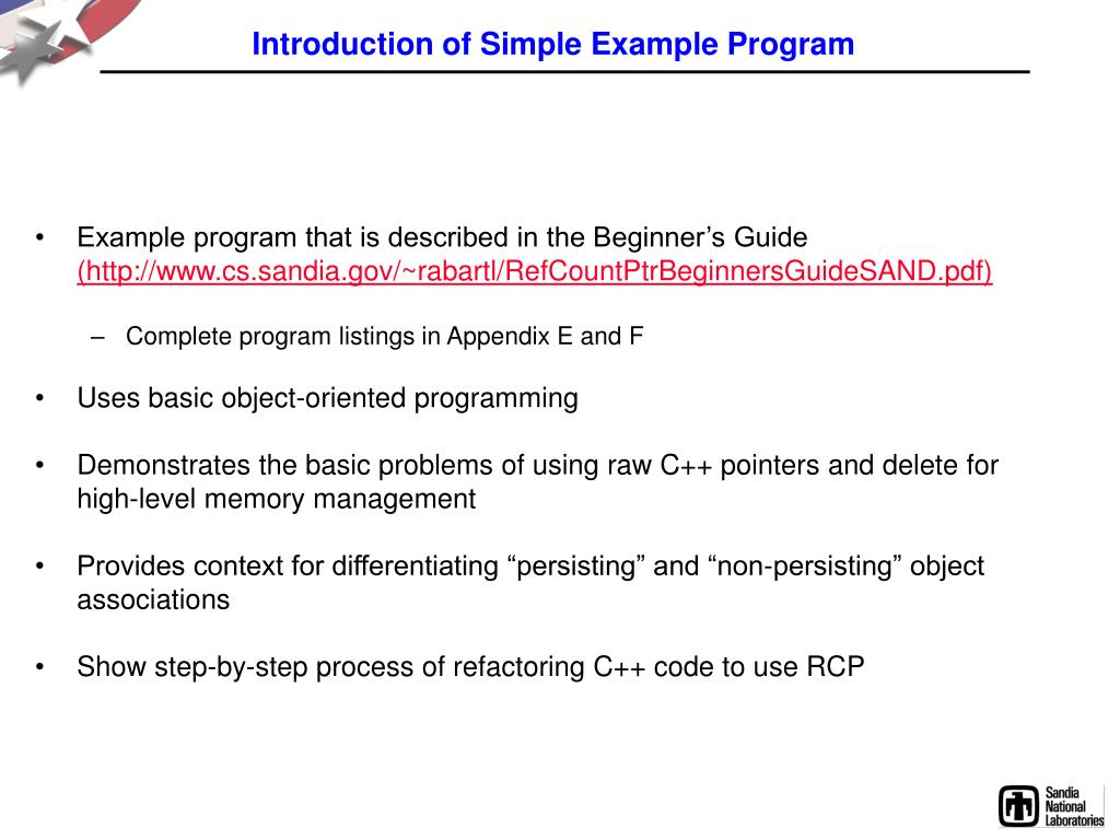 Introduction of Simple Example Program